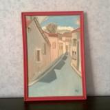 TABLOU ULEI PE PANZA PANORAMA STRADALA SEMNAT INITIALE BLT - Pictor strain, An: 1960, Peisaje, Art Deco
