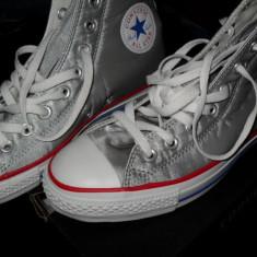 Tenisi Silver / White CONVERSE CT SATIN HI (originali, model rar)) marime 41, All Star (sau schimb cu 40) - Tenisi barbati Converse, Culoare: Argintiu