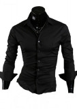 Camasa neagra - camasa slim fit - camasa fashion -cod 059, L, M, S, XL, Maneca lunga, Din imagine
