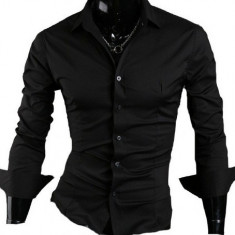 Camasa neagra - camasa slim fit - camasa fashion -cod 059, L, M, S, XL, Maneca lunga, Din imagine