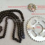 Kit - Set Pinioane - Pinion Mic + Pinion Mare + Lant Transmisie Moped