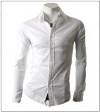 Camasa  alba - camasa slim fit - camasa fashion - camasa 058, L, M, S, XL, Maneca lunga, Din imagine