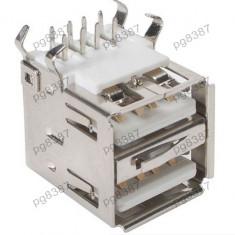Mufa USB A mama x 2, fixare pe cablaj - 126106