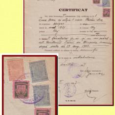 Romania 1947 - Certificat fiscal 2 timbre locale 500 Lei Reconstructia Cluj