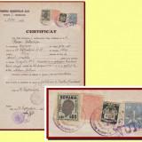 Romania 1946 - Certificat fiscal timbru local Reconstructia Cluj 500 Lei
