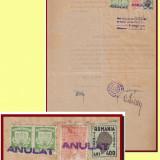 Romania 1946 - Certificat fiscal timbru local Reconstructia Cluj pereche 500 Lei