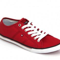 Adidasi Tommy Hilfiger Vantage originali - tenisi barbati - adidasi originali - panza - in cutie - 43, Culoare: Rosu, Textil