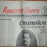 ziarul romania libera 16 ianuarie 1990-140 de ani de la nasterea lui eminescu