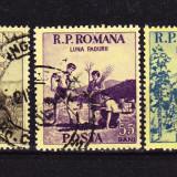 Timbre ROMANIA 1954/*348 = LUNA PADURII, SERIE COMPLETA 3 V. ST.