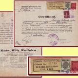 Romania 1946 - Certificat fiscal timbru taxa comunala + 1000L Reconstructia Cluj