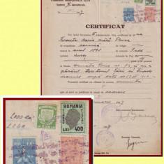 Romania 1947 - Certificat fiscal timbru local Reconstructia Cluj 500 Lei