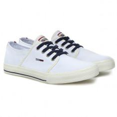 Adidasi Tommy Hilfiger Denim originali - tenisi barbati - adidasi originali - panza - in cutie - 44, Culoare: Alb, Textil