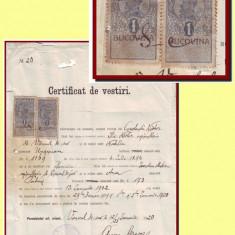 Romania 1920 - Certificat cu 2 timbre fiscale Ferdinand 1L supratipar BUCOVINA