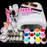 Kit  Unghii gel False Set Manichiura ,Lampa uv 36w ,12 GELURI COLOR