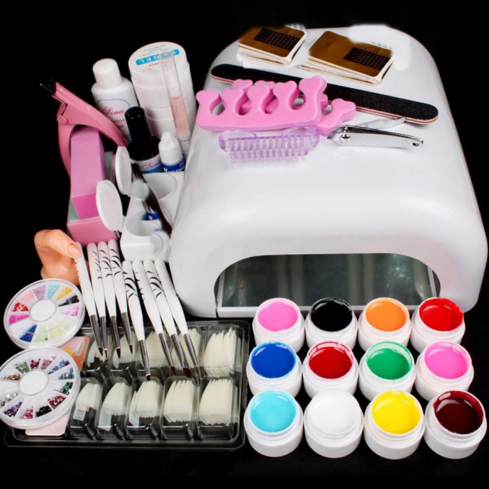 Kit  Unghii False Gel uv Set Manichiura ,Lampa 36w ,12 GELURI COLOR