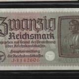 [ Y ] - Germania  20 mark AUNC 1939 - bancnota de ocupatie militara nazista !!!