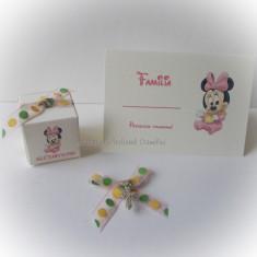 Pachet botez Minnie/ Mickey Mouse (marturii, carduri si cruciulite)