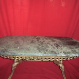 Masa ovala din bronz cu blat din onix 116x46x48 cm nr 3
