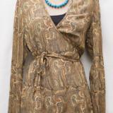 Bluza de matase cu imprimeu oriental-REDUCERE! - Bluza dama, Marime: M/L, Culoare: Multicolor, Maneca lunga