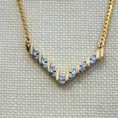 Superb colier diamante, aur 14K, 5.31g...SUA - Colier aur