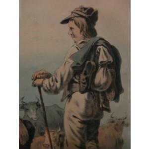 PASTORI  ODIHNINDU-SE ,   veche REPRODUCERE LITOGRAFICA inramata , sticla protectie  /  tablou / litografie