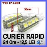 BEC AUTO LED LEDURI POZITIE T10 (W5W) - 17 SMD - POZITII, PLAFONIERA, NUMAR, Universal, ZDM