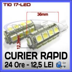 BEC AUTO LED LEDURI POZITIE T10 (W5W) - 17 SMD - POZITII, PLAFONIERA, NUMAR