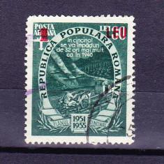 Timbre ROMANIA 1952/*320 = PLANUL CINCINAL SUPRATIPAR ROSU 1 leu / 30 lei, ST.