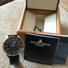 Vand ceas Jacques Lemans Geneve Automatic - Ceas barbatesc Jacques Lemans, Elegant, Mecanic-Automatic, Placat cu aur, Piele, Data