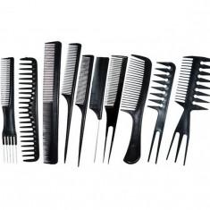 Set 10 piepteni din plastic pentru frizerie, coafor, tuns