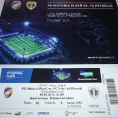 Program + bilet meci fotbal VIKTORIA PLZEN - PETROLUL PLOIESTI 07.08.2014 Europa League - Program meci