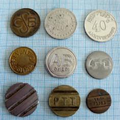 Lot 9 jetoane romanesti si straine jeton token - Jetoane numismatica