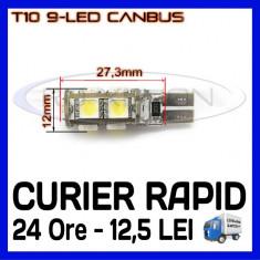 BEC AUTO CAMION, AUTOBUZ - 24V - LED LEDURI POZITIE T10 W5W - 9 SMD CANBUS