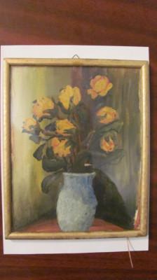 "PVM - Tablou ""Vas cu trandafiri galbeni"" ulei pe carton frumos nesemnat, nedatat foto"