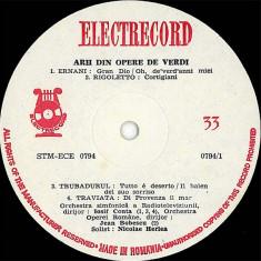 Giuseppe Verdi_Nicolae Herlea - Recital Din Arii Din Opere_Ernani_Rigoletto_Trubadurul_Traviata_Bal Mascat_Forta Destinului_Don Carlo (Vinyl) - Muzica Opera electrecord, VINIL