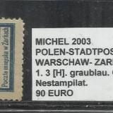 POLONIA - 1. 3[H].GRAUBLAU.GEZ.-11 1\2 - NESTAMPILAT, Altele