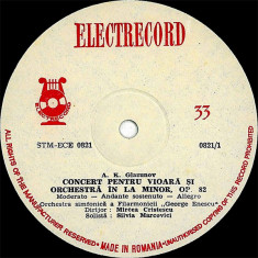 A.K.Glazunov_Max Bruch_Orchestra George Enescu_Mircea Cristescu_Silvia Marcovici - Concert, Op. 82_Op. 26 (Vinyl) - Muzica Opera electrecord, VINIL
