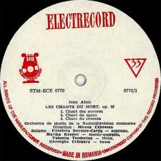 Jean Absil - Les Chants Du Mort, Op. 55 / Rhapsodie Roumaine Pour Violon Et Orchestre, Op. 56 (Vinyl) - Muzica Opera electrecord, VINIL