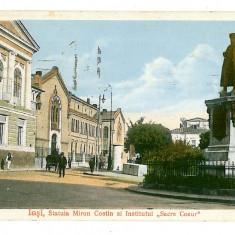 247 - IASI, statue Miron Costin - old postcard, CENSOR - used - 1915 - Carte Postala Moldova 1904-1918, Circulata, Printata
