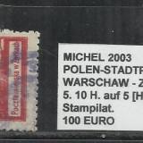 POLONIA   - 5. 10H. AUF 5 [H].ROT.GEZ.-11 1\2  STAMPILAT