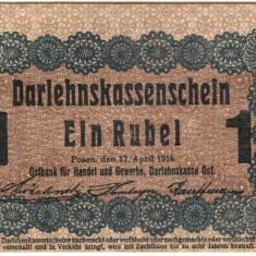 SV * 1 RUBLA 1916  OST WWI ocupatia germana in Polonia Letonia Lituania   +/- XF