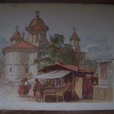 PREZIOSI - BISERICA SARINDAR (cromolitografie din albumul Bucurestii in 1869)