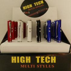 Stylus Touch Pen Ecran Tactil Creion Laser Rosu | LED Alb | Pix Albastru | NOU - Stylus tableta