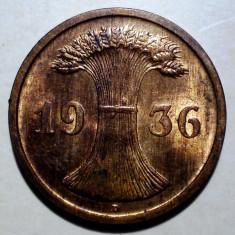 D.071 GERMANIA WEIMAR 2 REICHSPFENNIG 1936 D XF/AUNC, Europa, Bronz
