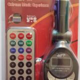 Modulator FM /MP3 cu Telecomanda, Ecran LCD, Slot SD/MMC - Modulator FM auto, Modulator FM Stereo