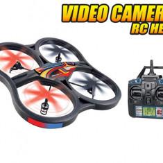 DRONA RADIOCOMANDATA CU CAMERA FOTO/VIDEO INCLUSA,TEHNOLOGIE 2,4Ghz,6 AXE,GYRO,AFISAJ LCD, 33CM. DRONA 2014!