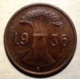 E.293 GERMANIA REICH 1 REICHSPFENNIG 1936 A XF, Europa, Bronz