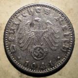 D.343 GERMANIA WWII AL III-LEA REICH 50 REICHSPFENNIG 1941 D, Europa, Aluminiu