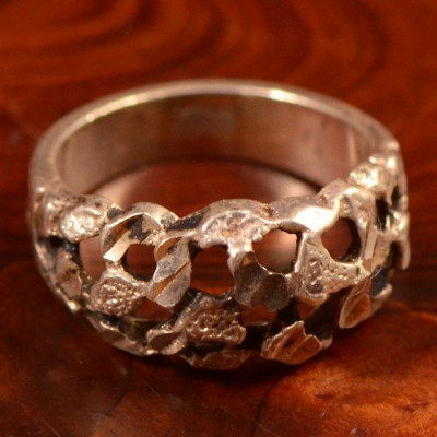 Vintage Sterling Silver (Ag925) -- Inel 'rough cut', 5.1 gr!!! foto