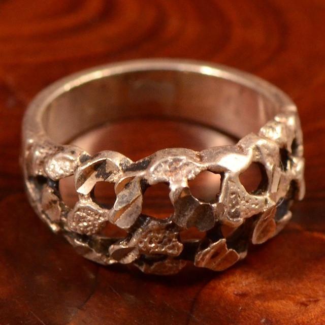 Vintage Sterling Silver (Ag925) -- Inel 'rough cut', 5.1 gr!!!